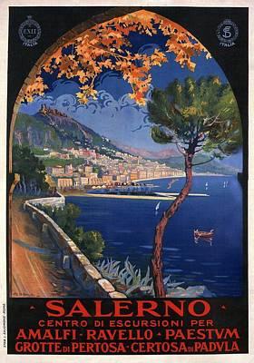 Mixed Media - Salerno - Centro Di Escursioni Per Amalfi - Ravello - Paestvm - Retro Travel Poster - Vintage Poster by Studio Grafiikka