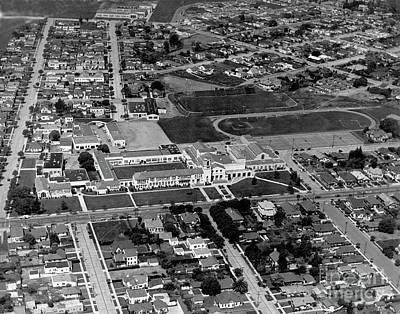 Photograph - Salinas High School 726 S. Main Street, Salinas Circa 1950 by California Views Archives Mr Pat Hathaway Archives