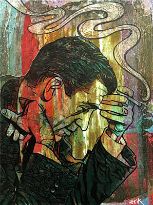 Stencil Art Painting - Salinger by Bobby Zeik
