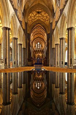 Photograph - Salisbury Cathdedral Reflections by Stephen Taylor