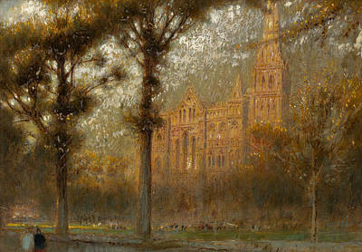 Ground Painting - Salisbury Cathedral by Albert Goodwin