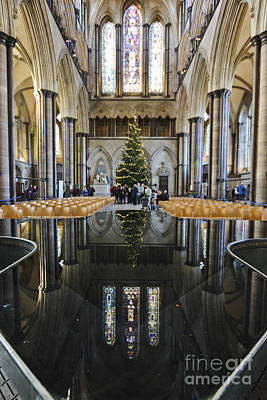 Photograph - Salisbury Cathedral Christmas Reflections by Terri Waters