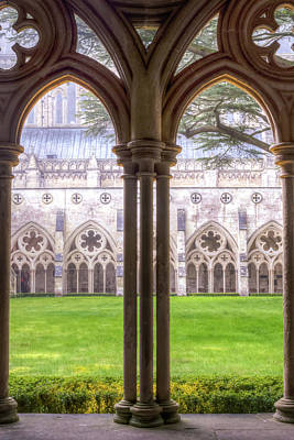 Photograph - Salisbury Cathedral Cloisters Arches Hdr by Jacek Wojnarowski