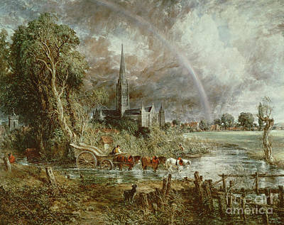 Horse-drawn Painting - Salisbury Cathedral From The Meadows by John Constable