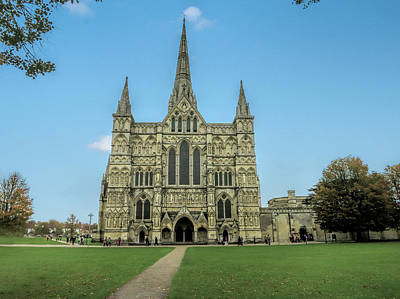 Photograph - Salisbury Cathedral - Front Facade by Phyllis Taylor