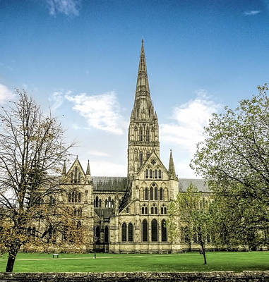 Photograph - Salisbury  Cathedral - Side View by Phyllis Taylor