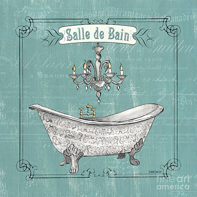Pen And Ink Drawing Painting - Salle De Bain by Debbie DeWitt