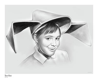 Hollywood Drawing - Sally Field by Greg Joens