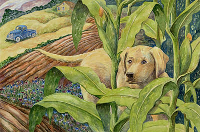 Painting - Sally In The Green Corn by Paula Blasius McHugh