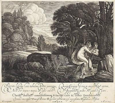 Drawing - Salmacis And Hermaphroditus by Magdalena van de Passe
