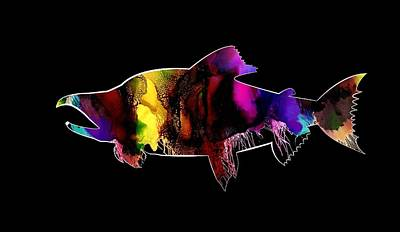 Sockeye Painting - Salmon Abstract Art by Andrea Patton
