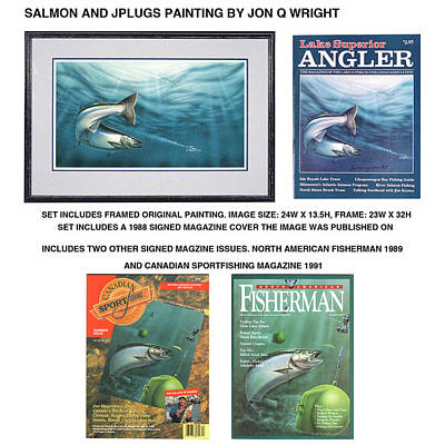 Salmon Painting - Salmon And Jplugs by Jon Q Wright