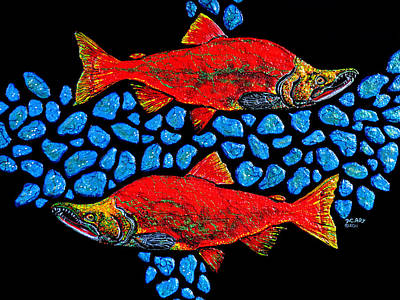 Art Print featuring the painting Salmon by Debbie Chamberlin