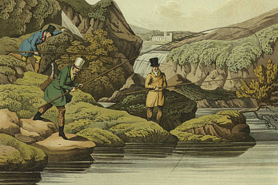 Salmon Wall Art - Painting - Salmon Fishing by Henry Thomas Alken