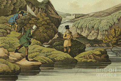 Reel Drawing - Salmon Fishing by Henry Thomas Alken