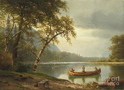 North American Print featuring the painting Salmon Fishing On The Caspapediac River by Albert Bierstadt