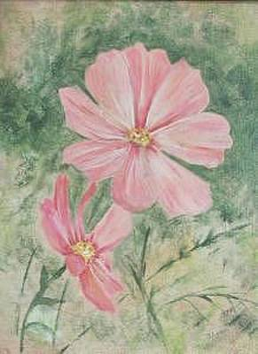 Painting - Salmon Flowers In The Garden by Judy Loper