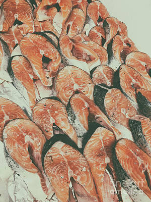 Fish Fillet Photograph - Salmon For Sale In Fish Market by Radu Bercan