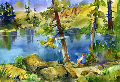 Painting - Salmon Lake Fisherman by Joan Chlarson