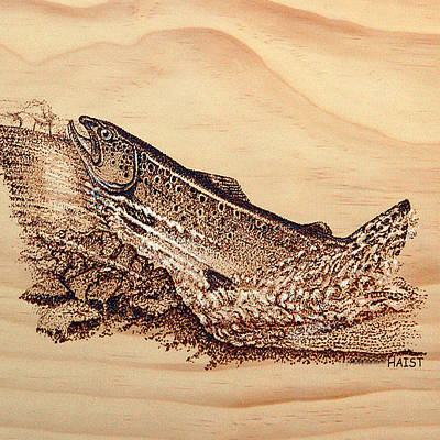Pyrography - Salmon Pillow/bag by Ron Haist