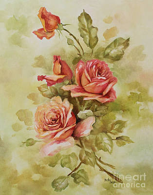 Painting - Salmon Roses by Becky West