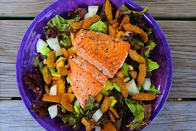 Photograph - Salmon Salad With Sesame Crunchies by Polly Castor