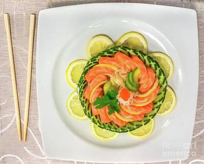 Photograph - Salmon Sashimi Dish by Benny Marty