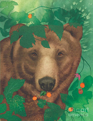 Salmonberry Bear Art Print