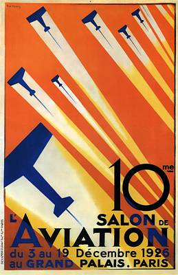 Royalty-Free and Rights-Managed Images - Salon De Aviation - Au Grand Palais, Paris 1926 - Airshow - Retro travel Poster - Vintage Poster by Studio Grafiikka