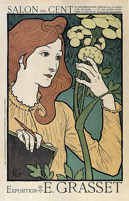 Mixed Media - Salon Des Cent - Exposition Eugene Grasset - Vintage Advertising Poster by Studio Grafiikka