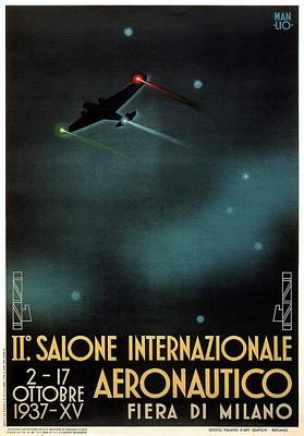 Mixed Media - Salone Internazionale Aeronautico, Paris - Airshow - Retro Exhibition Poster - Vintage Poster by Studio Grafiikka