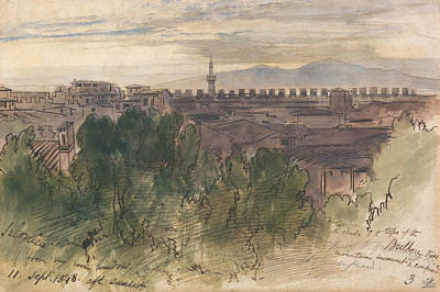 Drawing - Salonica, From My Room Window, 11 Sept. 1848, After Sunset by Edward Lear