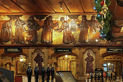 Saloon Bar At Christmas - Black Friar Pub London Art Print by Gill Billington