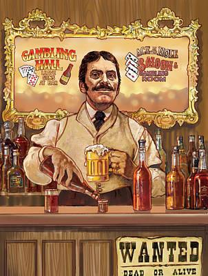Saloon Keeper Art Print by Valer Ian