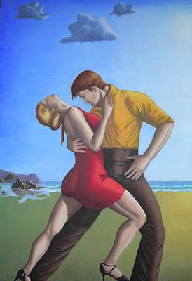 Salsa Dancing Portrait Painting Art   Art Print by Luigi Carlo