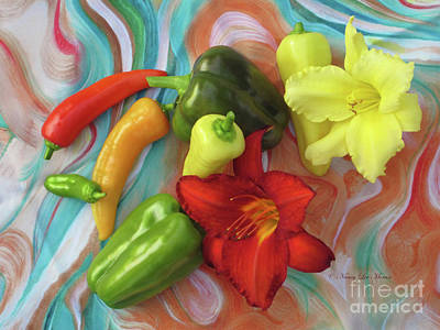 Photograph - Salsa Peppers And Two Daylilies On Marbleized Silk by Nancy Lee Moran