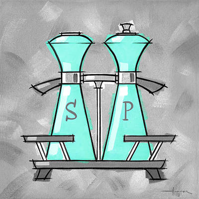 Painting - Salt And Pepper Aqua by Larry Hunter