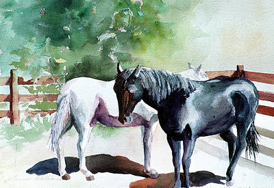 Painting - Salt And Pepper Horses by Connie Williams