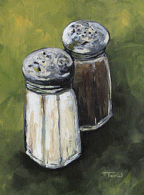 Pepper Painting - Salt And Pepper On Green by Torrie Smiley