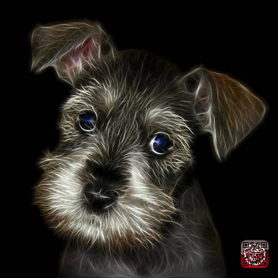 Painting - Salt And Pepper Schnauzer Puppy 7206 F by James Ahn