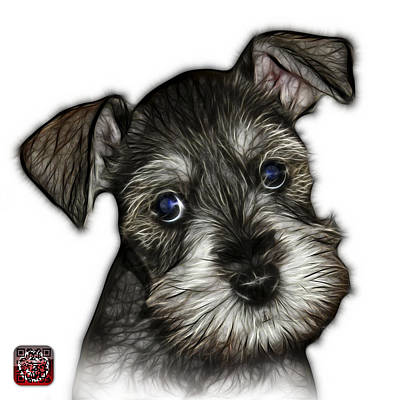 Art Print featuring the digital art Salt And Pepper Schnauzer Puppy 7206 Fs by James Ahn