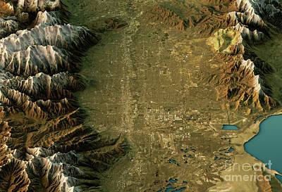 Geography Digital Art - Salt Lake City 3d Landscape View North-south Natural Color by Frank Ramspott