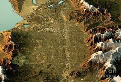 Geography Digital Art - Salt Lake City 3d Landscape View South-north Natural Color by Frank Ramspott