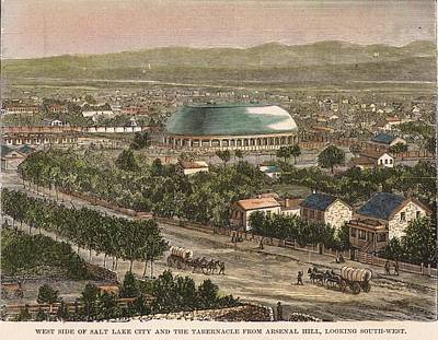 Tabernacle Painting - Salt Lake City And The Tabernacle From Arsenal Hill. Utah. 1891 by Unknown