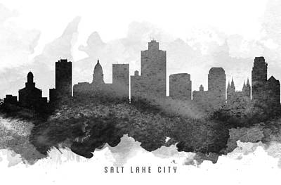 Lakes Digital Art - Salt Lake City Cityscape 11 by Aged Pixel