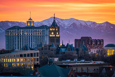 Salt Lake City Hall At Sunset Art Print by James Udall