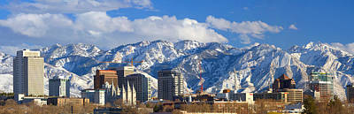 Snow Capped Photograph - Salt Lake City Skyline by Utah Images
