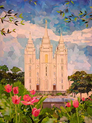 Salt Lake Temple Wall Art - Mixed Media - Salt Lake City Temple by Robin Birrell