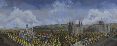 Painting - Salt Lake City Temple Square Nineteen Twelve  by Jeff Brimley