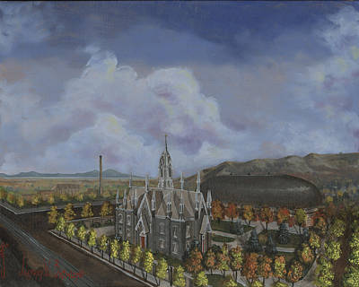Painting - Salt Lake City Temple Square Nineteen Twelve Left Panel by Jeff Brimley